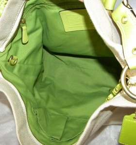 COACH CARLY Canvas/Leather LARGE Natural/Green HOBO Bag 10449 EUC