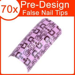 70 x FRENCH ACRYLIC GEL NAIL ART TIPS PINK LOCK #026