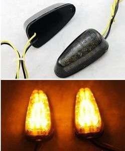 Motorcycle LED Turn Signals Light Indicator Adhesive Tape Lens Smoke