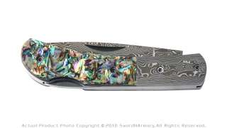 Damascus Steel Folding Pocket Knife w/ Mother of Pearl