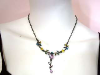 Dark Amethyst Color Crystal U Necklace Earrings Set