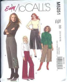 McCalls Pants Sewing Pattern Misses Womens Plus Size Full Figure XLG