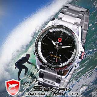 SHARK Men Quartz LED Steel Big Case Sports Army Wrist Watch + Box