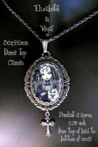 Gothic Angel Persian Cat FAIRY Cameo NECKLACE Myka Art
