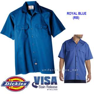 Dickies Mens SHORT SLEEVE Work Shirt Nwt S   5XL R BLUE