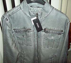 NWT GUESS MENS MOTORCYCLE JACKET FAUX LEATHER