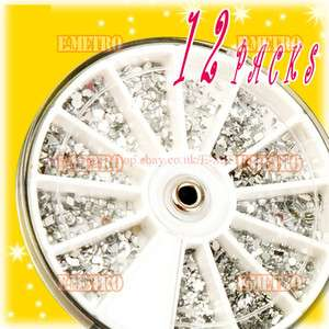 1500 x CLEAR SILVER Nail Art Rhinestones Glitter Wheel