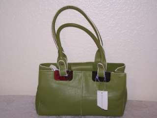 NWT Worthington Leather Purse Handbag Satchel Green with White Trim