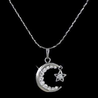 White Gold gp Lab Diamond Moon love Star Pendant Necklace
