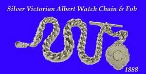 Silver Victorian Albert Fusee Watch Chain & Fob 1888