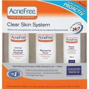 AcneFree Clear Skin System, 3 Step Kit (Purifying Cleanser, Renewing