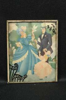 Picture Reverse Painted Silhouette Colorful 1800s Era Clothing