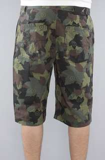LRG The Team Coach True Straight Chino Shorts in Olive Camo