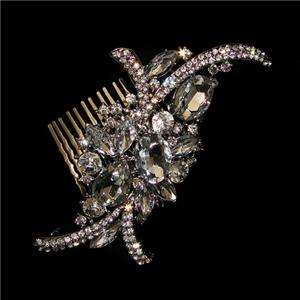 53 Flower Bridal Hair Comb Tiara Swarovski Crystal