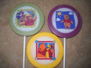 "Winnie the Pooh & Friends"" Edible Decal 3 Round Lollipop/Favor"