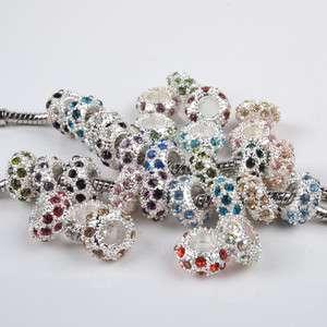 Mixed Color Rhinestone Loose Beads Fit Bracelets 50pcs