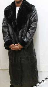 Greg Bell All Black Long Leather Coat Jacket with Furry Lining Jacket