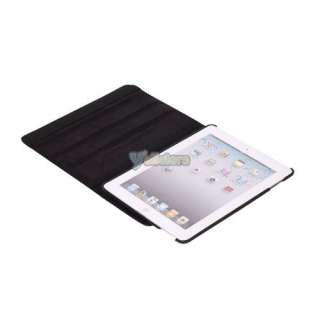 Black Leather Case Rotating Stand for iPad 2