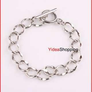 6x Silver Tone Charm Chain F European Bracelet 17cm M85