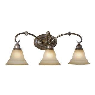 Bathroom Vanity Lighting Fixture, Royal Bronze, Brushed Cognac Glass