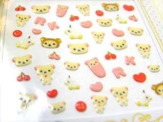 SanX Rilakkuma Relax Bear Nail Art Stickers Decorate  W