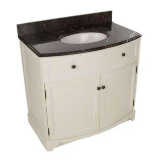Foremost Arcadia 37 1/4 In. Vanity in Frost White With Marble Top in