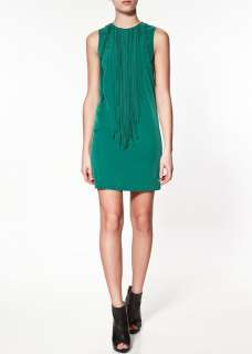 97K CREW NECK SLEEVELESS DRESS WITH FRINGING AT THE FRONT 2618