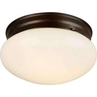 Illumine 2 Light Flush Mount Antique Bronze Finish Opal Glass CLI