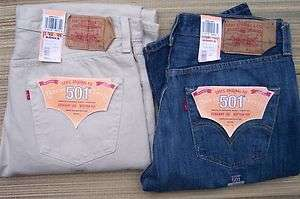 LEVIS 501 CLASSIC STRAIGHT BUTTON UP ORIGINAL JEANS FADED OR STONE