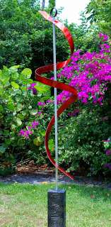 Large Outdoor Modern Abstract Painted Metal Art Sculpture Red Ribbon