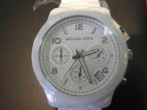 MICHAEL KORS WOMENS WATCH chrono ALL WHITE CERAMIC SAPPHIRE ORIGINAL