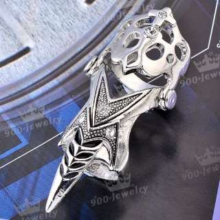 Cool SKULL Claw Sharp Punk Finger Two Joint Ring Cocktail Fashion