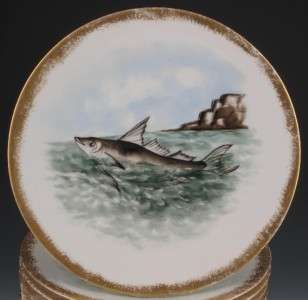 12 FRENCH HANDPAINTED PORCELAIN FISH PLATES, 1890 1920