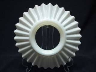 ANTIQUE MILK GLASS RUFFLE LAMP LIGHT SHADE 8IN TUTU ART DECO VINTAGE E