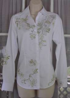 Chicos Womens Small Size 0 White Cotton Floral Embroidered Shirt