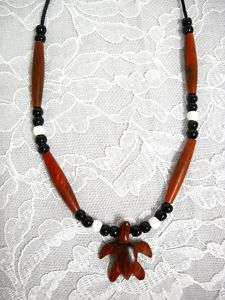 EXOTIC ROSE WOOD CARVED TURTLE BEADED PENDANT NECKLACE