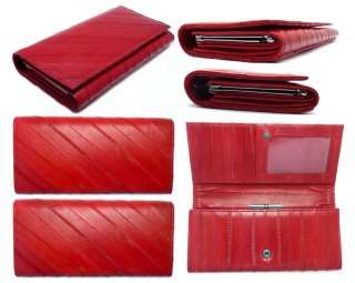 Luxury Genuine Eel skin Leather Wallet Purse Clutch Wallet 15 Colors
