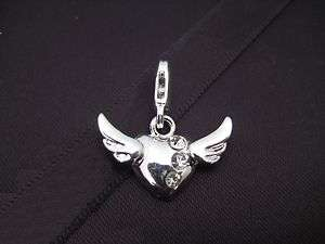 Clip On Silver Plated Heart & Angel Wings Charm