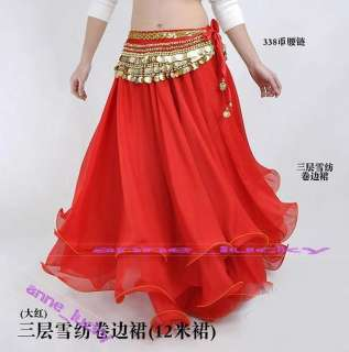 New Sexy Belly dance Costume Three Layers Skirt 9 Colours HOT