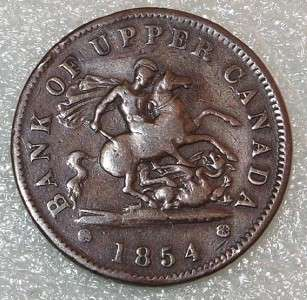 1854 BANK of upper Canada TOKEN 1 PENNY one cent COIN
