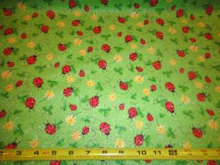 Green Clover Ladybugs Daisies Glitter Green Fabric
