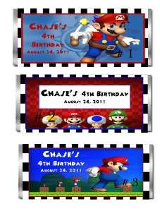 10 PERSONALIZED SUPER MARIO CANDY BAR WRAPPERS