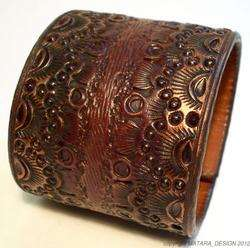 Premium Tooled Brown Bracelet LEATHER wrist CUFF NYC