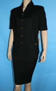 NWT ST JOHN COLLECTION KNIT FITTED JACKET & SKIRT 2 PC SUIT LOGO