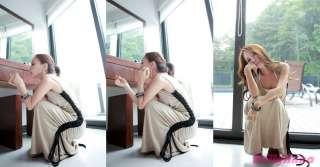 Korean Women Unique Maxi Long Asymmetrical Skirt Dress