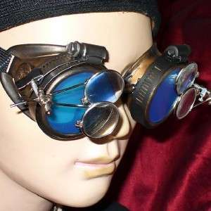 Steampunk Goggles Glasses magnifying lens Gold Blue D
