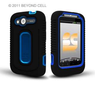 HTC Wildfire S Black/Blue Double Dual Layer Hybrid Hard Case Silicone