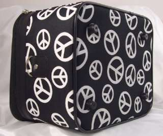 Medium PEACE SIGN Black White Travel Cosmetic Bag Case