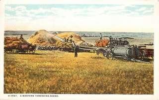 Western Threshing Steam Engine Farm Scene Fred Harvey Postcard H 3157