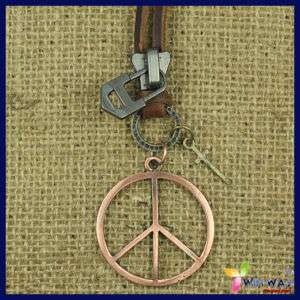 Dog Tag Peace Sign Leather Chain Cross Mens Necklaces